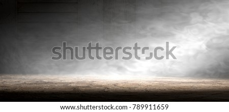 Empty room and concrete floor background.3d illustration.Smoke or fog and spotlight in dark space