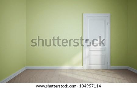 empty room and white door