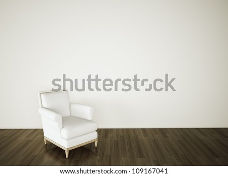 empty room armchair on blank white wall