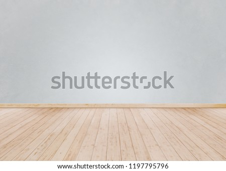 Empty Room background and white brick wall with Wooden floor