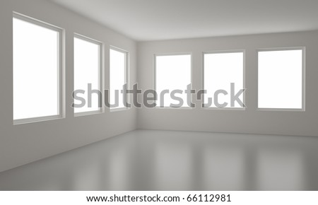 Empty room, clean interior, new office, clipping path for windows included