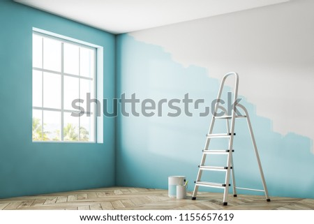 Empty room corner with a large window, a wooden floor and a half painted blue wall. A ladder and tins of paint. 3d rendering mock up