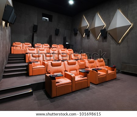 Empty room for viewing movies/Empty Cinema Theater Seating