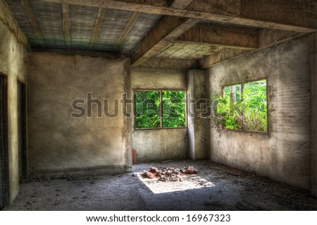 Empty room in a disused house with overgrown garden