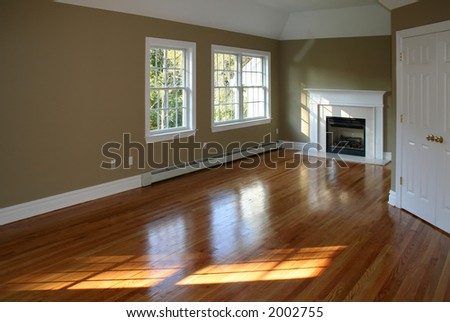 Empty room in new home with fireplace .. ambient window light