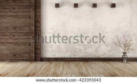 empty room in rustic style with ...