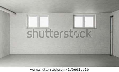 Empty room in the basement with two windows from a new house (3d rendering) Foto stock ©