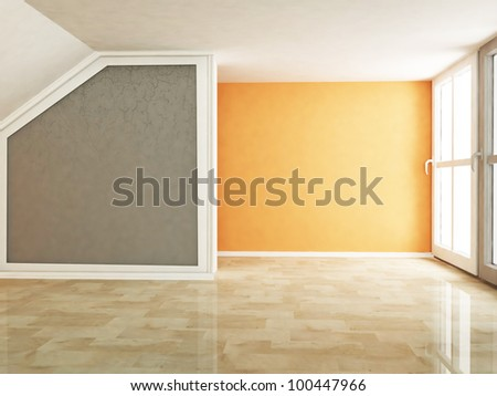 empty room in warm colors