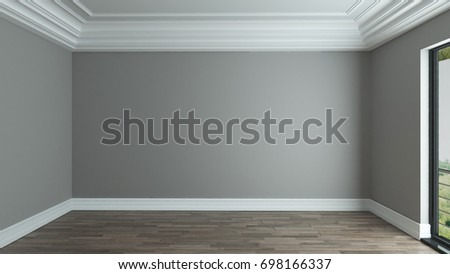 empty room interior design background with decorative ceiling 3D rendering