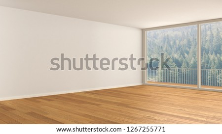 Empty room interior design, open space with big panoramic window, balcony on green meadow with trees, parquet wooden floor, modern contemporary architecture, 3d illustration
