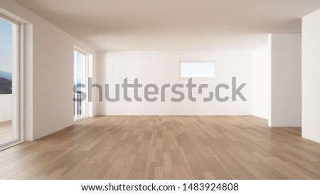 Empty room interior design, open space with big panoramic window, balcony on sea panoramic view, parquet wooden floor, modern contemporary architecture, 3d illustration