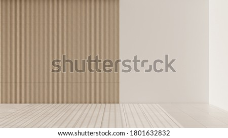 Empty room interior design, open space with marble tiled floor, white and wooden walls, modern architecture idea, 3d illustration