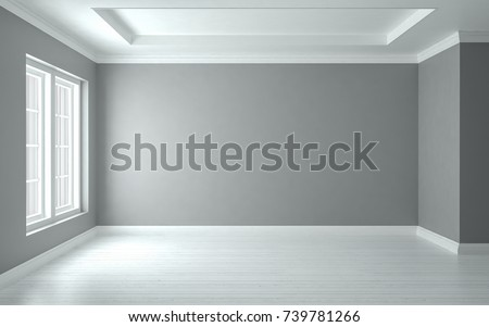 Empty room interior gray wall, studio mock-up, 3D render 3D illustration