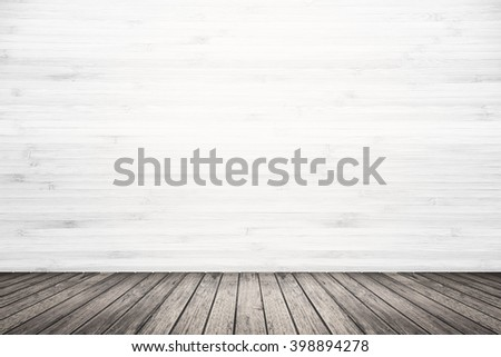 Empty room interior of old grunge white wood wall and dark brown wooden floor, use for background, backdrop or design element in architecture concept #398894278