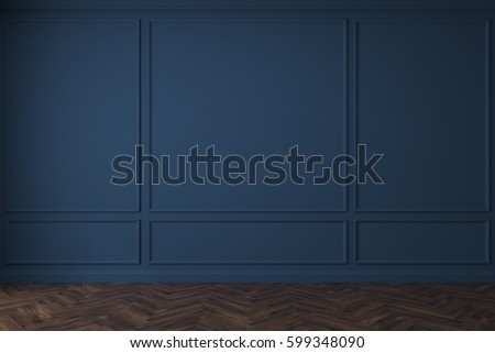 Empty room interior with dark blue walls and a dark wooden floor. Concept of a rennovation and a new beginnig. 3d rendering, mock up
