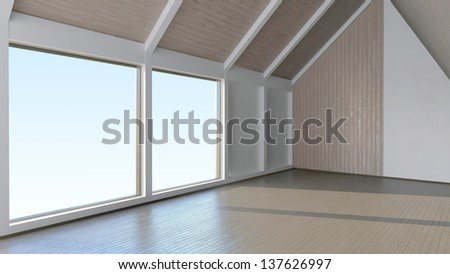 Empty room interior with mansard windows and laminate wood finishing