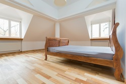 Empty room interior with old fashioned bed
