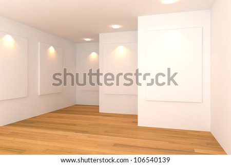Empty room interior with white canvas on white wall in the gallery.