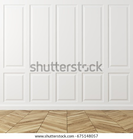 Empty room interior with white rectangular pattern walls and a light wooden floor. Concept of a new and comfortable lodging. 3d rendering mock up #675148057