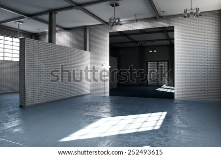 Empty room of a business or residential property with gray brick and concrete stained floor steel framed and architectural lighting. Photo realistic 3d rendering.