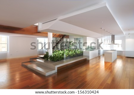 Empty Room Of Residence With An Atrium Center And Hardwood Floors