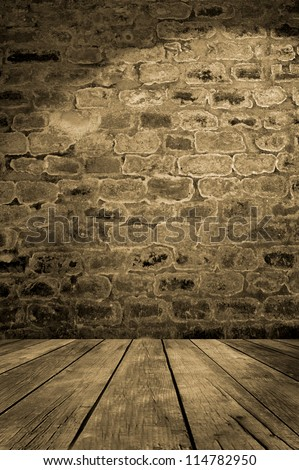 Empty room. Old brick wall with wooden floor