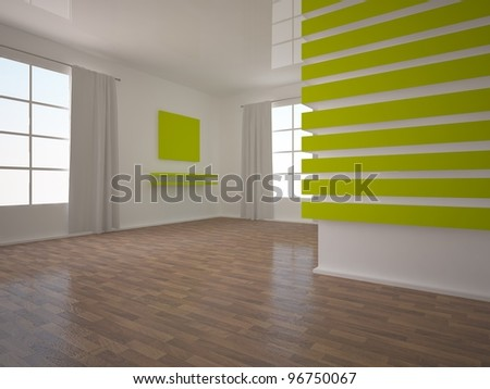 empty room with a green wall