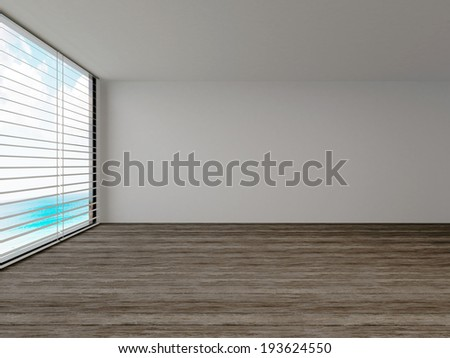 Empty room with a large view window, parquet floor and blinds