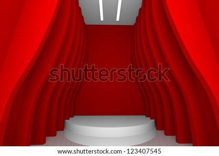 empty room with abstract design color red wall