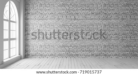 Empty room with arched window and shiplap flooring. Brick wall in loft interior mockup. Studio or office blank space.