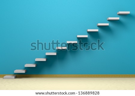Empty room with ascending stairs, blue rough wall, beige floor and plinth