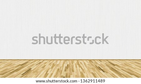 Empty room with ash wood parquet floor and white striped vinyl wallpaper on the wall. 3D rendering illustration of empty room for design interior.