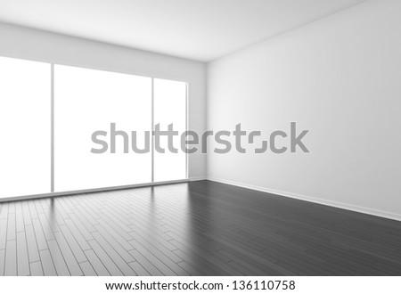 empty room with black parquet
