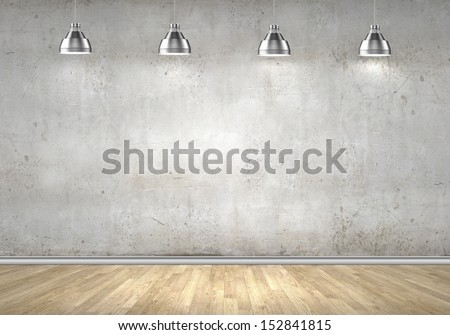 Empty room with blank wall and lamps at ceiling