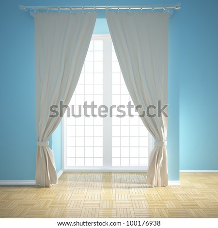 empty room with blinds