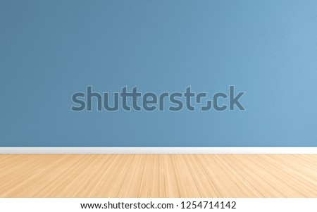 Empty room with blue wall and parquet, -can used for display or montage your products. 3d render