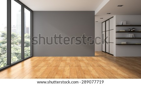 Empty room with book shelfs 3D rendering