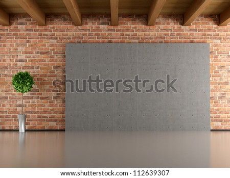 Empty room with brick-wall cement panel and wooden ceiling- rendering