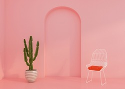 Empty room with chair and potted plants , pink wall. 3D illustration