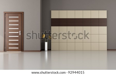 empty room with closed modern door-wood and laminate panels - rendering