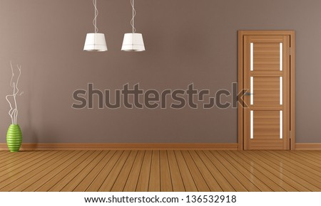Empty room with closed wooden door - rendering