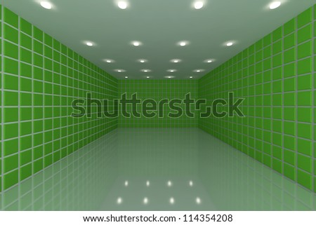 Empty room with color green tile wall