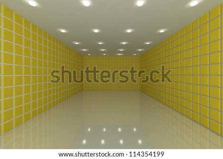 Empty room with color yellow tile wall