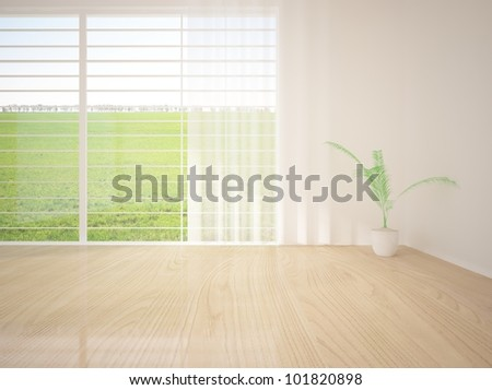 empty room with curtains on the window