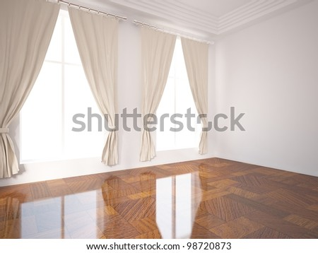 empty room with curtains on the windows