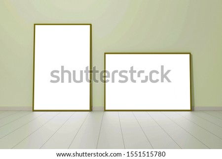 Empty room with empty picture, 3D illustration