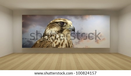 Empty room with falcon picture, 3d art concept, clean space