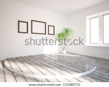 empty room with frame on the wall