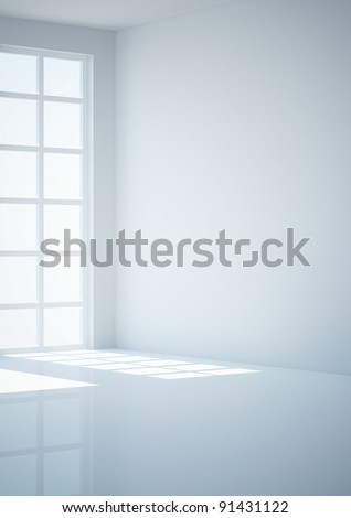 empty room with french window, view in corner - 3d illustration