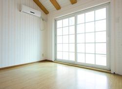 empty room with glass door.